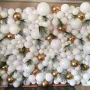 Panou baloane albe si auriu chrome