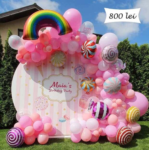 Panou photo cornec cu baloane roz